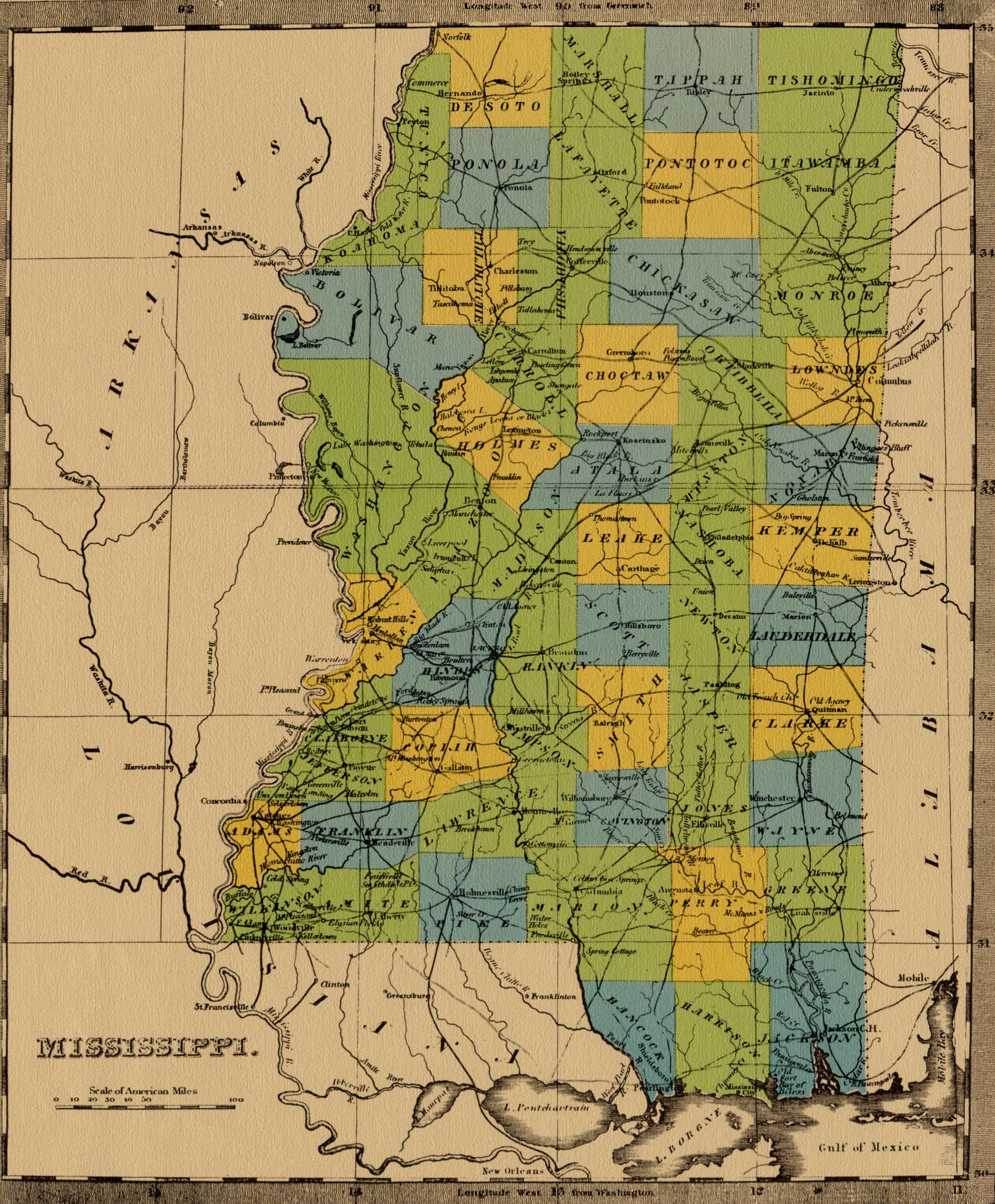 State Of Mississippi Ancestral Trackers Maps - Ms map