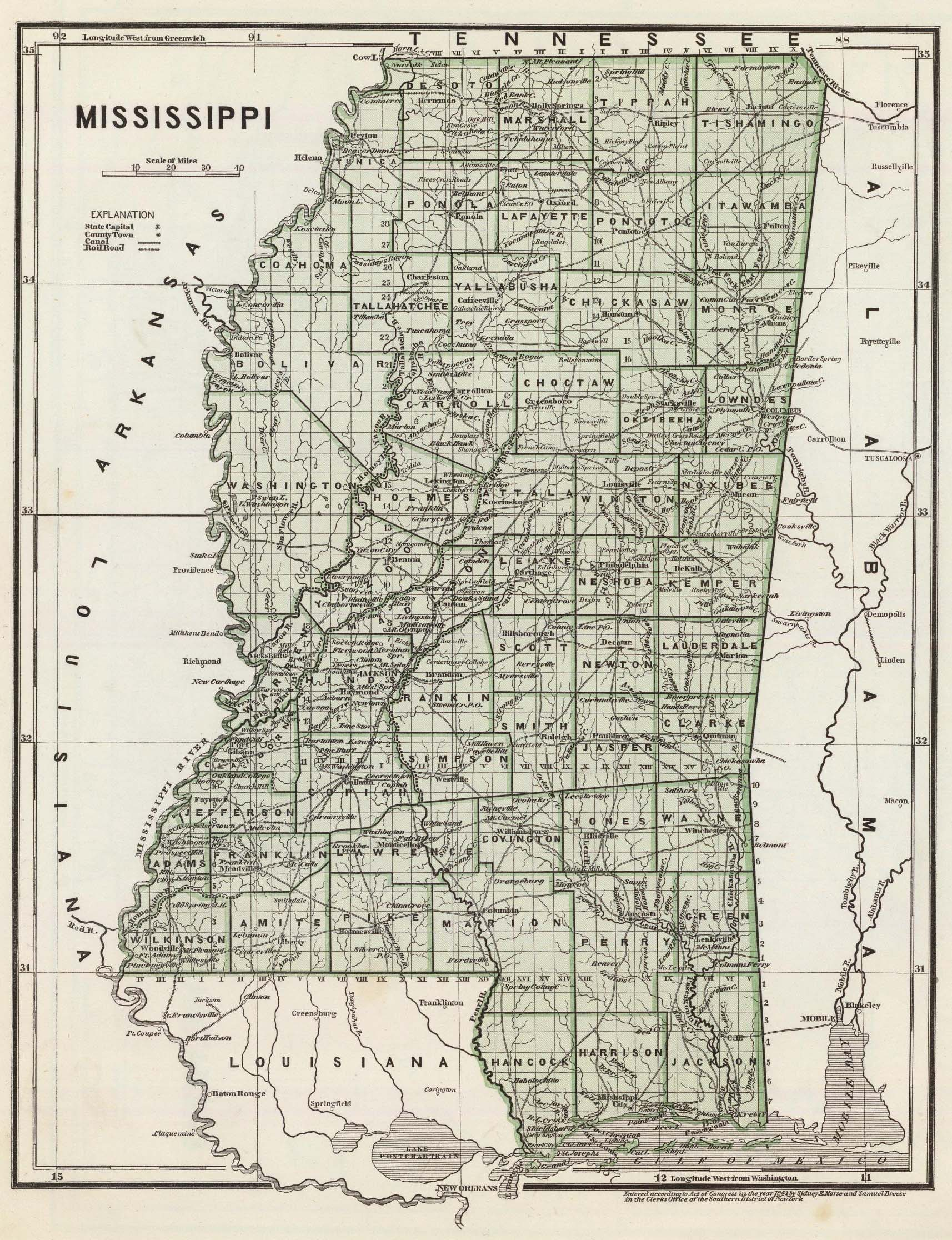 State Of Mississippi Ancestral Trackers Maps - Missisippi map